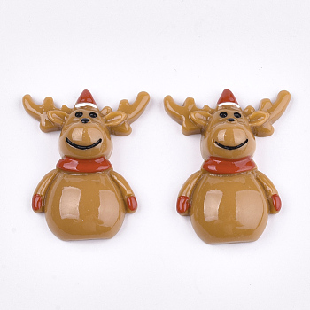 Resin Cabochons, Christmas Reindeer/Stag, Sandy Brown, 31x25x9mm