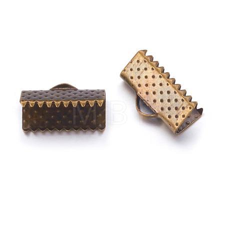 Antique Bronze Plated Iron Ribbon Crimp EndsX-E005Y-NFAB-1