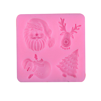Food Grade Silicone Molds, Fondant Molds, For DIY Cake Decoration, Chocolate, Candy, Soap, UV Resin & Epoxy Resin Jewelry Making, Father Christmas & Christmas Tree & Christmas Reindeer/Stag & Snowman, Pink, 73x73x12mm
