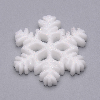 Resin Cabochons, with Glitter Powder, Christmas, Snowflake, Snow, 20x18x3mm