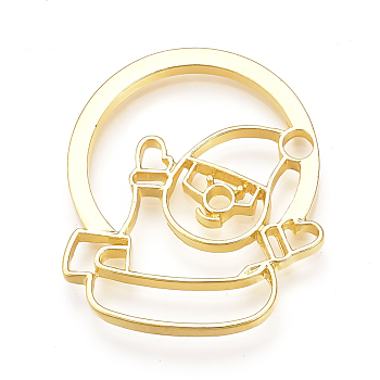 Rack Plating Alloy Open Back Bezel Pendants, For DIY UV Resin, Epoxy Resin, Pressed Flower Jewelry, Lead Free & Nickel Free, Flat Round with Christmas Snowman, Golden, 39x34x3mm, Hole: 4mm