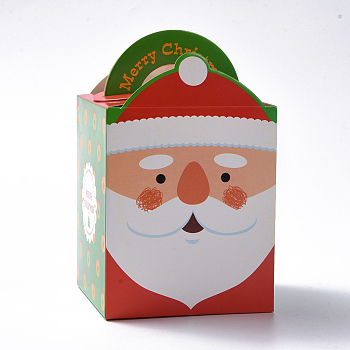 Christmas Theme Candy Gift Boxes, Packaging Boxes, For Xmas Presents Sweets Christmas Festival Party, Father Christmas/Santa Claus Pattern, Colorful, 10.2x8.3x8.2cm