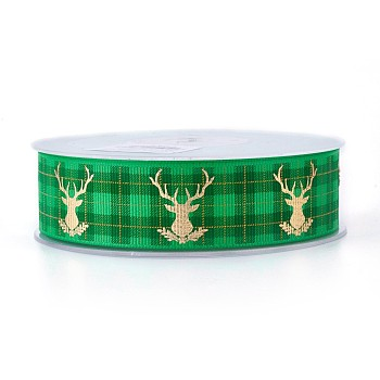 Polyester Grosgrain Ribbon for Christmas Reindeer/Stag, Green, 25mm; about 100yards/roll