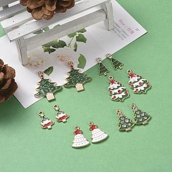 Christmas Theme, Alloy Enamel Pendants, Christmas Tree, Light Gold, Mixed Color, 12pcs/set