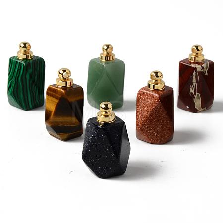 Natural & Synthetic Mixed Gemstone Openable Perfume Bottle PendantsG-R478-001-G-1