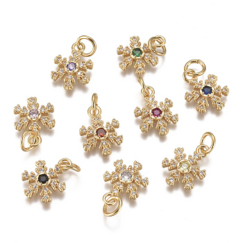Christmas Brass Micro Pave Cubic Zirconia Charms, with Jump Ring, Long-Lasting Plated, Real 18K Gold Plated, Snowflake, Mixed Color, 13x9x3mm, Hole: 3mm