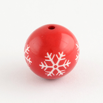 Round Acrylic Snowflake Pattern Beads, Christmas Ornaments, Red, 20mm, Hole: 2.5mm