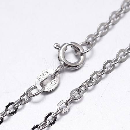 Sterling Silver Cable Chains NecklacesNJEW-M157-25C-18-1